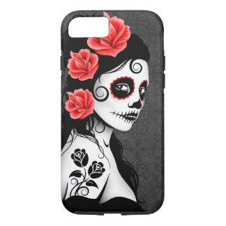 Día del chica muerto del cráneo del azúcar - gris funda iPhone 7