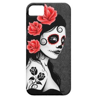 Día del chica muerto del cráneo del azúcar - gris funda para iPhone SE/5/5s