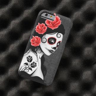 Día del chica muerto del cráneo del azúcar - gris funda resistente iPhone 6