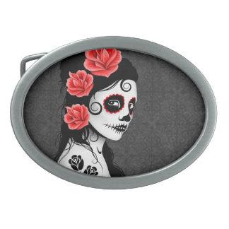 Día del chica muerto del cráneo del azúcar - gris hebilla cinturon