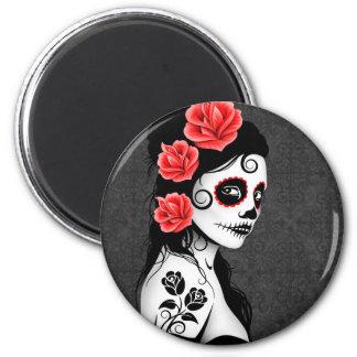 Día del chica muerto del cráneo del azúcar - gris imán redondo 5 cm