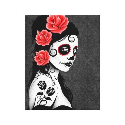 Día del chica muerto del cráneo del azúcar - gris impresion en lona