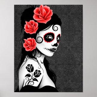Día del chica muerto del cráneo del azúcar - gris póster