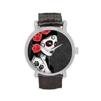 Día del chica muerto del cráneo del azúcar - gris relojes de pulsera