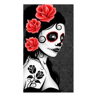 Día del chica muerto del cráneo del azúcar - gris tarjetas de visita