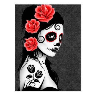 Día del chica muerto del cráneo del azúcar - gris tarjetas postales