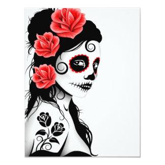 Día del chica muerto del cráneo del azúcar - invitación 10,8 x 13,9 cm