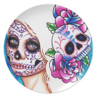 Día del chica muerto del cráneo del azúcar: Promes Platos Para Fiestas