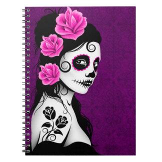 Día del chica muerto del cráneo del azúcar - púrpu cuaderno