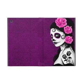 Día del chica muerto del cráneo del azúcar - púrpu iPad mini fundas