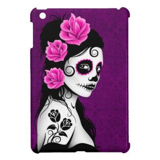 Día del chica muerto del cráneo del azúcar - púrpu iPad mini cárcasas