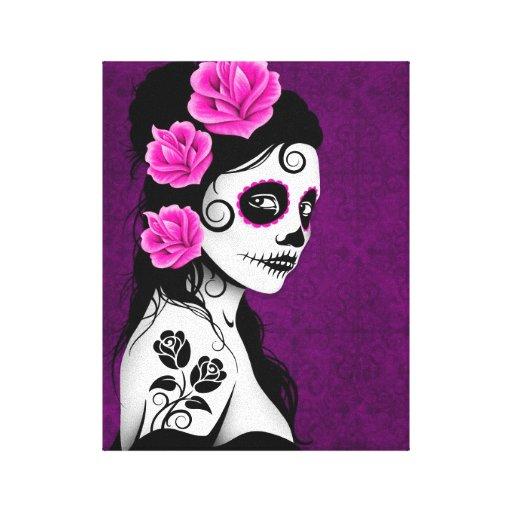 Día del chica muerto del cráneo del azúcar - púrpu lienzo envuelto para galerías