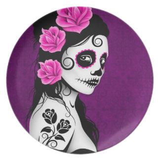 Día del chica muerto del cráneo del azúcar - púrpu platos de comidas