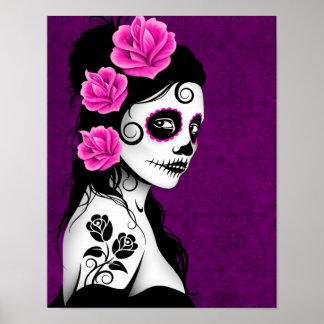 Día del chica muerto del cráneo del azúcar - púrpu póster