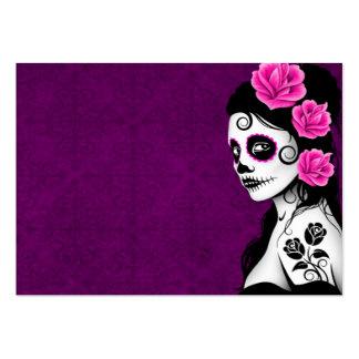 Día del chica muerto del cráneo del azúcar - púrpu plantillas de tarjetas de visita