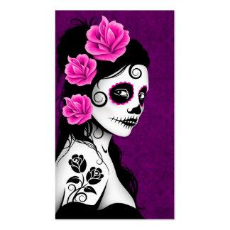 Día del chica muerto del cráneo del azúcar - púrpu tarjeta de negocio