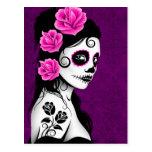 Día del chica muerto del cráneo del azúcar - púrpu postales
