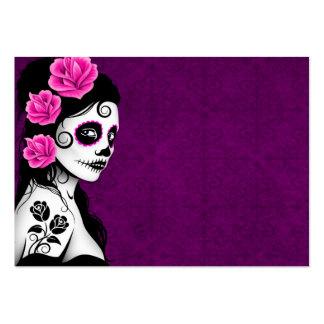 Día del chica muerto del cráneo del azúcar - púrpu tarjetas de visita grandes