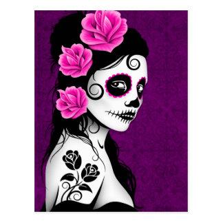 Día del chica muerto del cráneo del azúcar - púrpu tarjetas postales