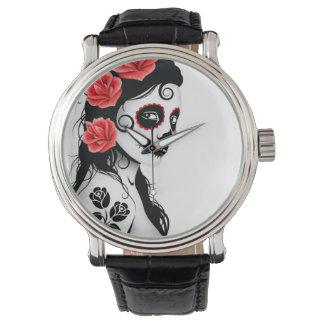 Día del chica muerto del cráneo del azúcar - relojes de mano