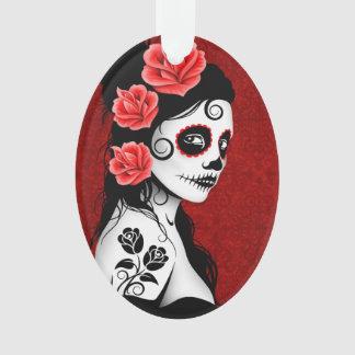 Día del chica muerto del cráneo del azúcar - rojo