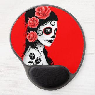 Día del chica muerto del cráneo del azúcar - rojo  alfombrilla con gel