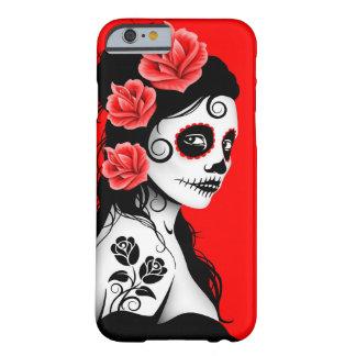 Día del chica muerto del cráneo del azúcar - rojo funda barely there iPhone 6