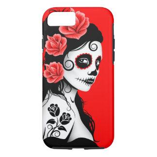Día del chica muerto del cráneo del azúcar - rojo funda iPhone 7