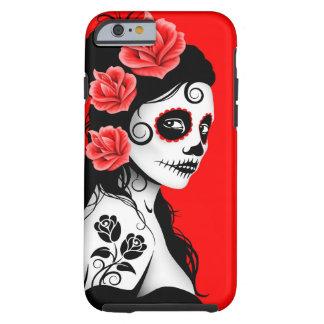 Día del chica muerto del cráneo del azúcar - rojo funda resistente iPhone 6
