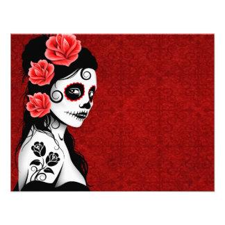 Día del chica muerto del cráneo del azúcar - rojo comunicados personales