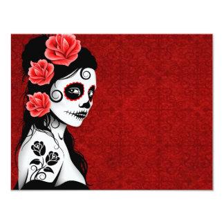 Día del chica muerto del cráneo del azúcar - rojo invitación 10,8 x 13,9 cm