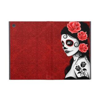 Día del chica muerto del cráneo del azúcar - rojo iPad mini carcasa