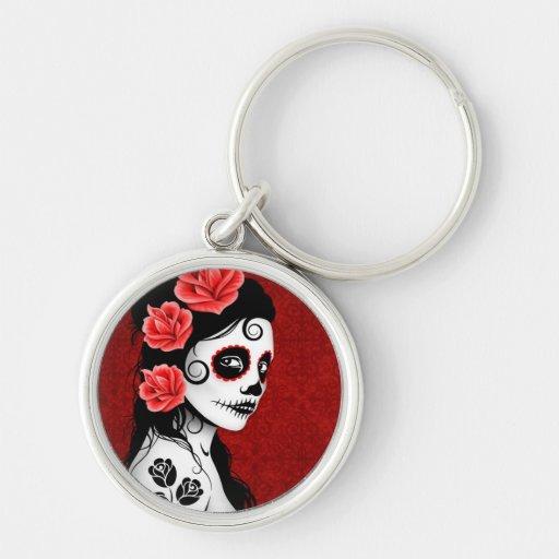 Día del chica muerto del cráneo del azúcar - rojo llaveros personalizados