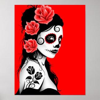 Día del chica muerto del cráneo del azúcar - rojo  posters