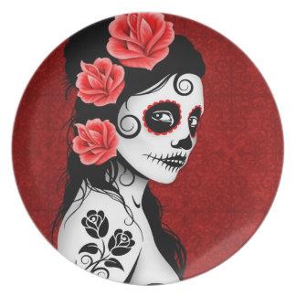 Día del chica muerto del cráneo del azúcar - rojo plato