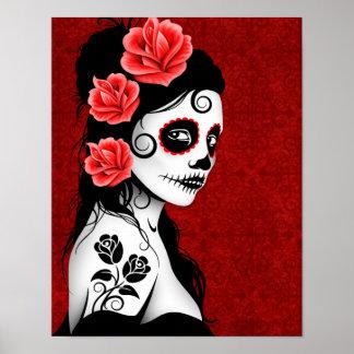 Día del chica muerto del cráneo del azúcar - rojo póster