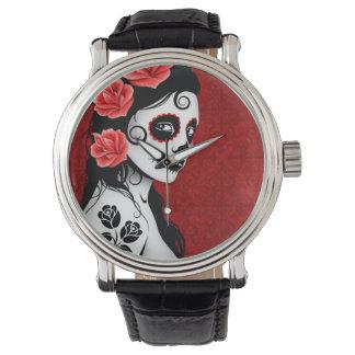Día del chica muerto del cráneo del azúcar - rojo relojes de mano