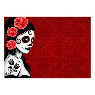 Día del chica muerto del cráneo del azúcar - rojo tarjetas de visita grandes