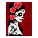 Día del chica muerto del cráneo del azúcar - rojo tarjeta postal