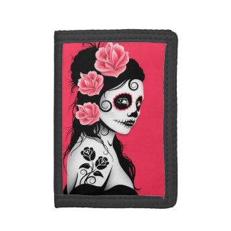 Día del chica muerto del cráneo del azúcar - rosa