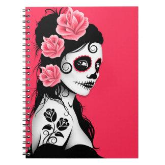 Día del chica muerto del cráneo del azúcar - rosa cuadernos
