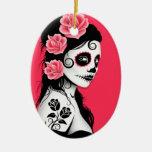 Día del chica muerto del cráneo del azúcar - rosa adorno de navidad