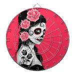 Día del chica muerto del cráneo del azúcar - rosa tablero de dardos