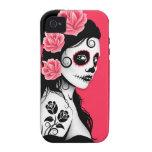 Día del chica muerto del cráneo del azúcar - rosa vibe iPhone 4 fundas