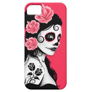 Día del chica muerto del cráneo del azúcar - rosa iPhone 5 Case-Mate funda