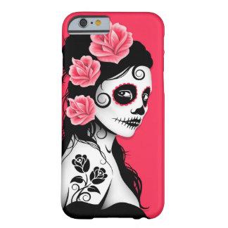 Día del chica muerto del cráneo del azúcar - rosa funda de iPhone 6 barely there
