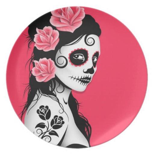 Día del chica muerto del cráneo del azúcar - rosa platos de comidas