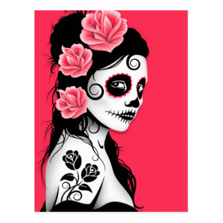 Día del chica muerto del cráneo del azúcar - rosa postal