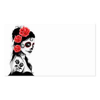 Día del chica muerto del cráneo del azúcar tarjetas de visita