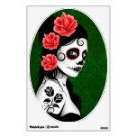 Día del chica muerto del cráneo del azúcar - verde